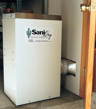 A Energy Efficient basement dehumidifier installed in a finished basement in Denver